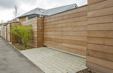 Timber clad cantilever gate
